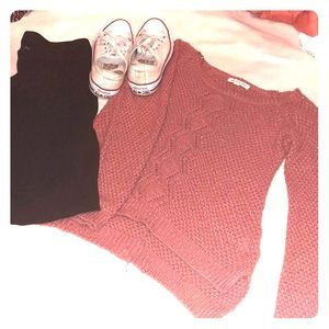 Mauve knit high low sweater